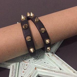 Jewelry - 🍁Leather & Spikes Wrap Bracelet
